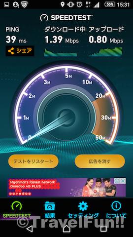 上り0.8Mbps、下り1.39Mbps